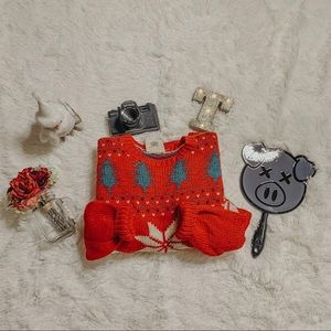 Vintage Christmas Red Wool Sweater SZ S
